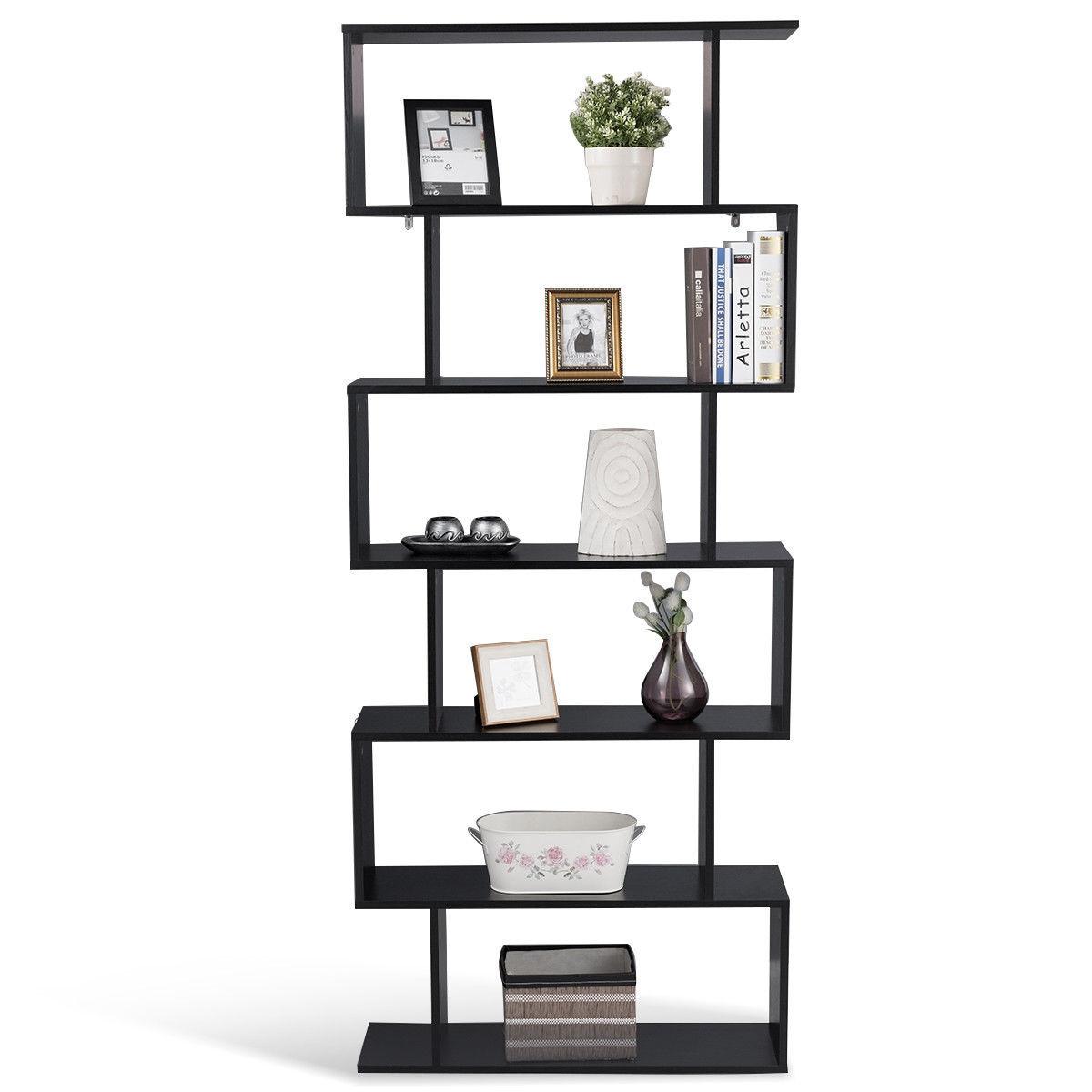 6-Tier S-Shaped Bookcase Z-Shelf Style Storage Bookshelf - $65.95 + Free Shipping