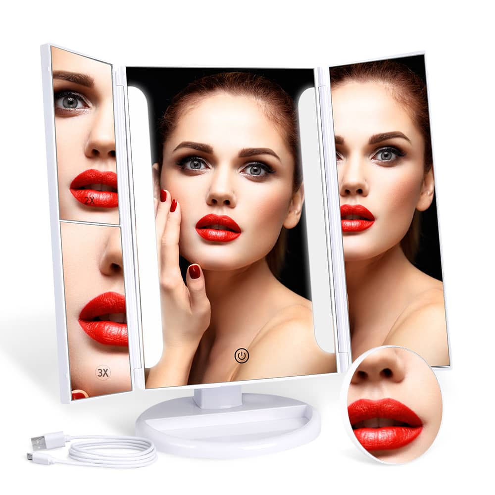 MYONAZ Led Makeup Mirror 21 LED Vanity Tri Fold Mirrors - $9.98 + Free Shipping