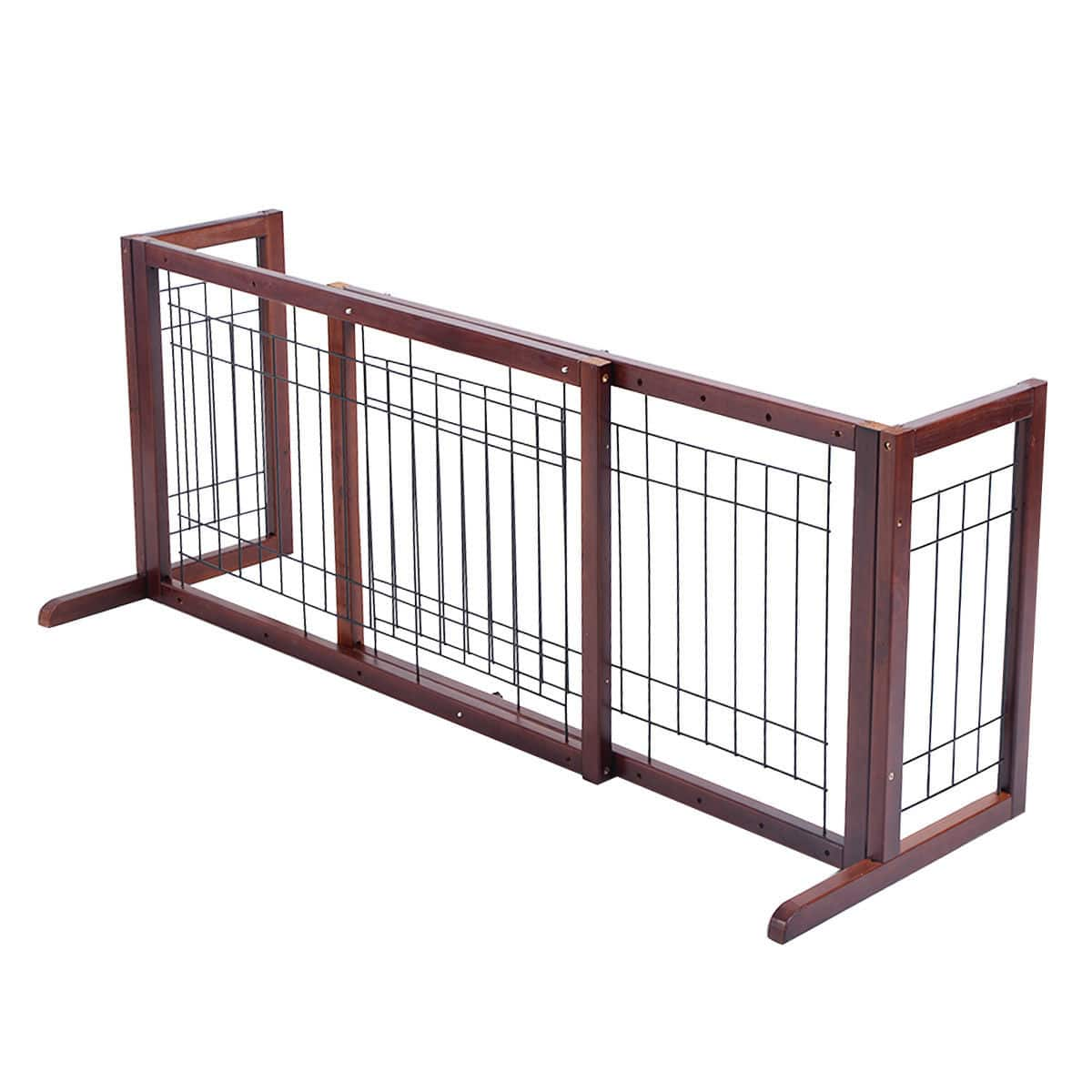 Cosway Wood Gate Adjustable Pet Fence Playpen - $48.95 + Free Shipping