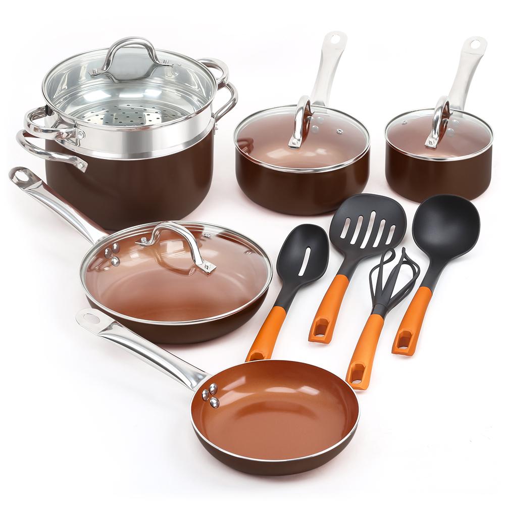SHINEURI 14 Pieces Nonstick Ceramic Copper Cookware Set  $57.65 - FSSS