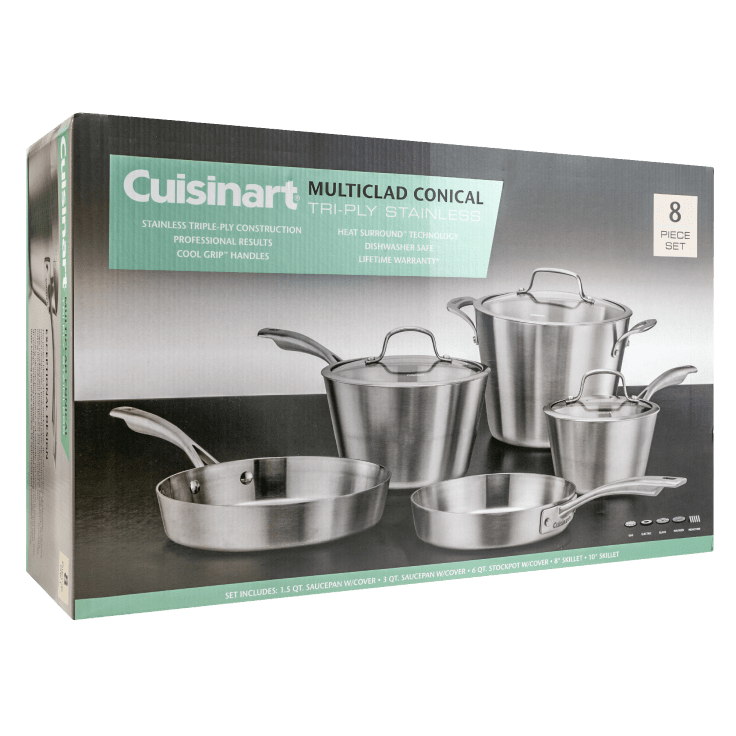 Cuisinart Multiclad Conical TriPly Stainless 8-Piece Cookware Set $99 + Free Shipping