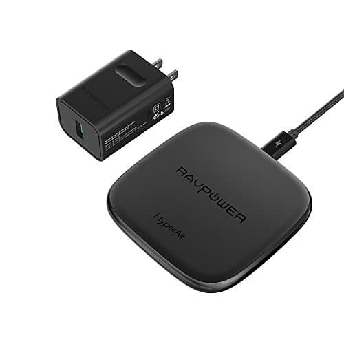 RAVPower Qi-Certified 10W Fast Wireless Charger for Galaxy S9+ S9 S8+ S8 Note 8 with HyperAir,7.5W (QC 3.0 Adapter) $13.99 + FSSS