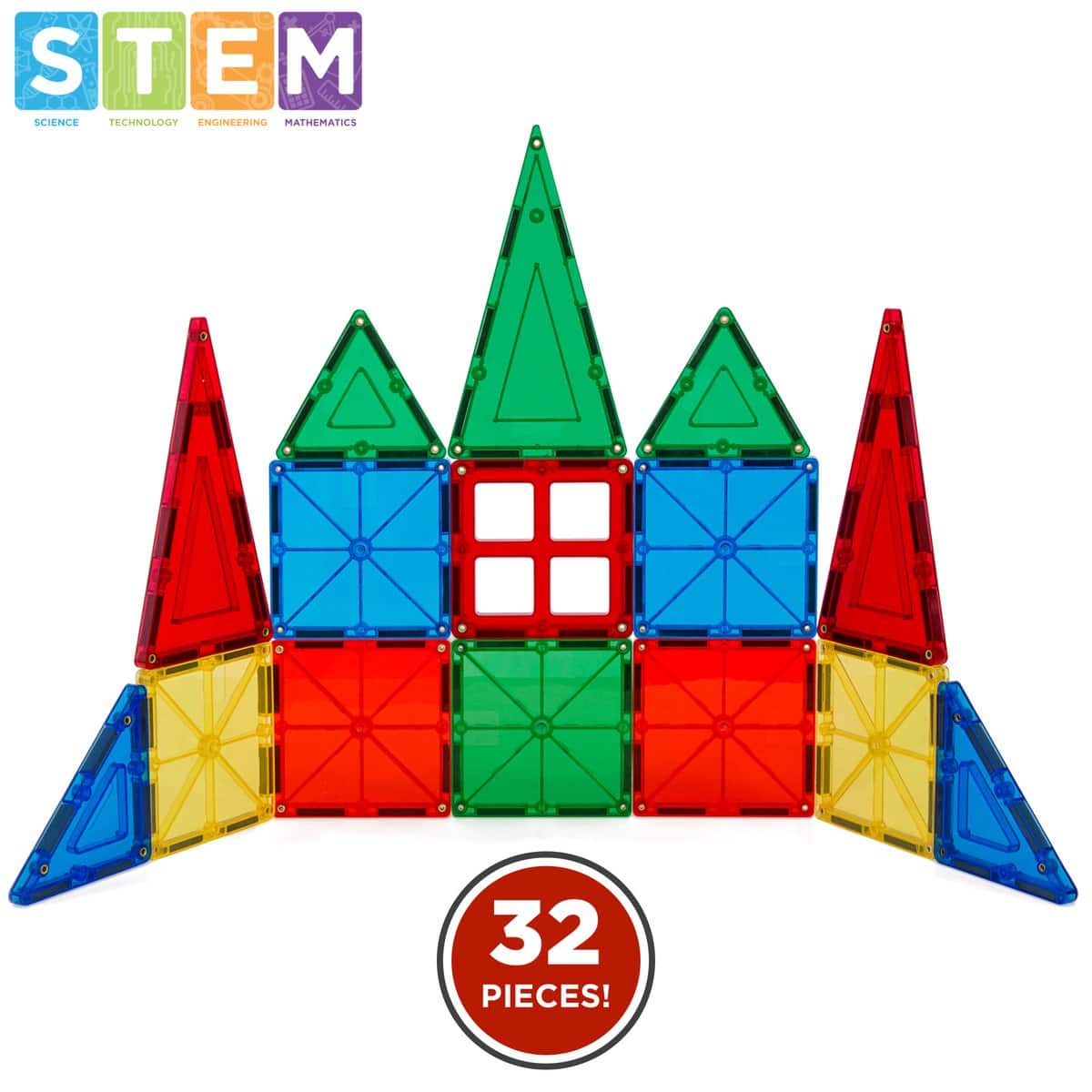 32-Piece Kids Magnetic Building Tiles Toy Set w/ Carrying Case $19.99 + FS