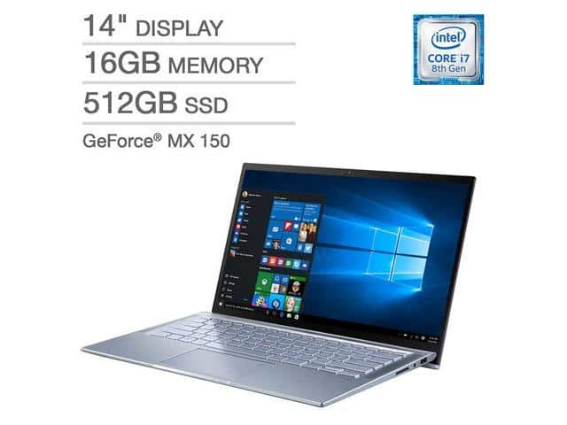 ASUS ZenBook 14 UX431FN-IH74 Ultra-thin and Light 14-inch FHD Laptop, Intel Core i7-8565U, 16 GB RAM, 512 GB PCIE SSD, GeForce MX150, Windows 10, Silver Blue @ $899.99