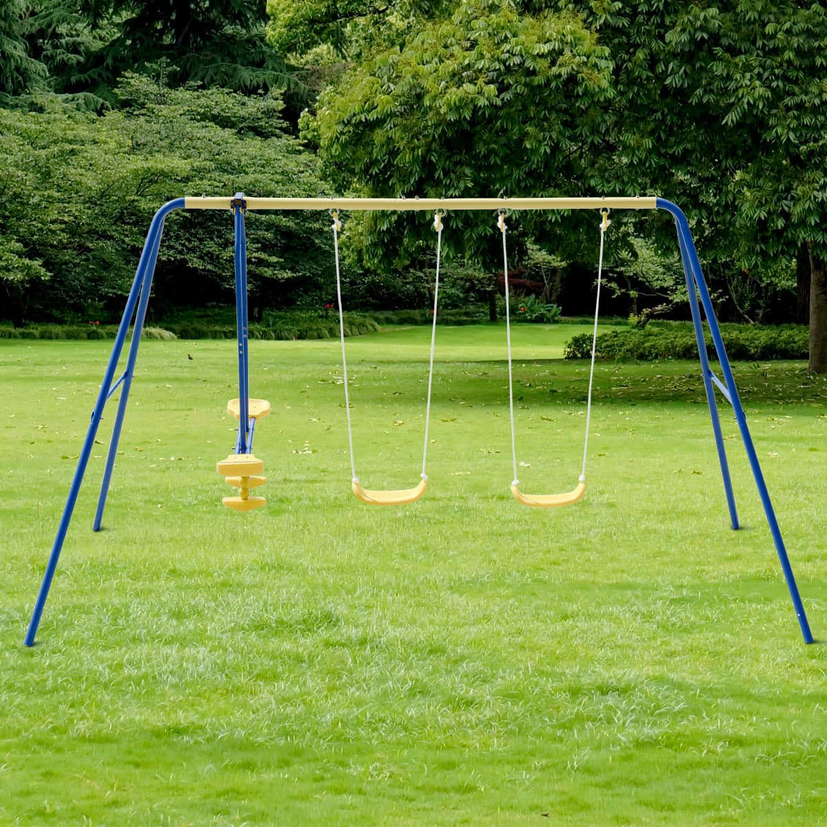 Costway Metal A-Frame Four Seat Swing Set for 4 Children for $90.95 + Free Shipping