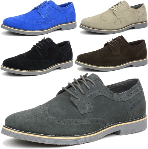 Genuine Suede Wingtip Smart Casual Shoes for Men $29.99 + Free Shipping