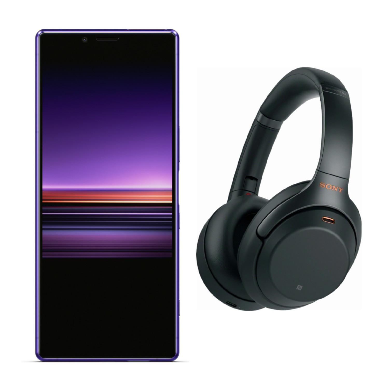 128GB Sony Xperia 1 J8170 Unlocked Smartphone + Sony WH-1000XM3 Noise Canceling Headphones + Sony WF1000X Noise Canceling True Wireless Earbuds
