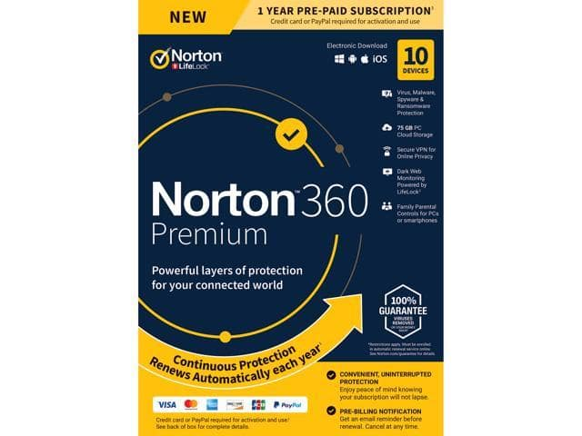 Norton 360 Premium - Antivirus Software for 10 Devices - Includes VPN, PC Cloud Backup & Dark Web Monitoring Powered by LifeLock [Key Card]  $25.99