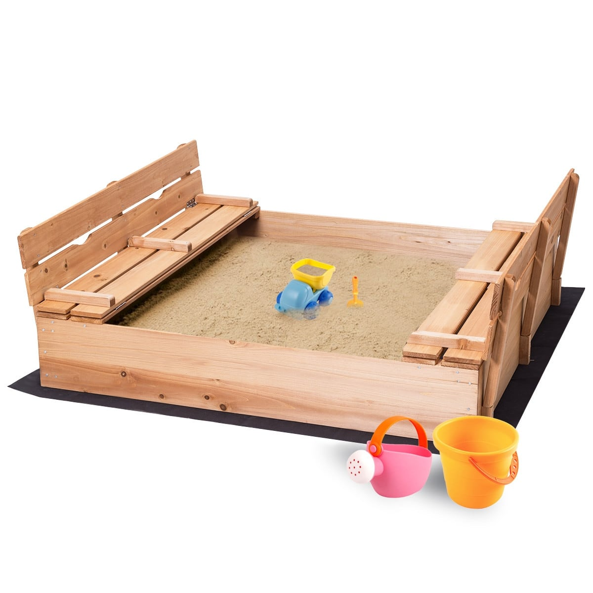 Costway Kids Outdoor Foldable Retractable Sandbox with Bench Seat-$99.95 + Free Shipping