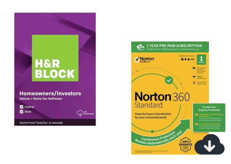 H&R Block Tax Software Deluxe Federal + State Windows Download + Norton 360 for $22.49