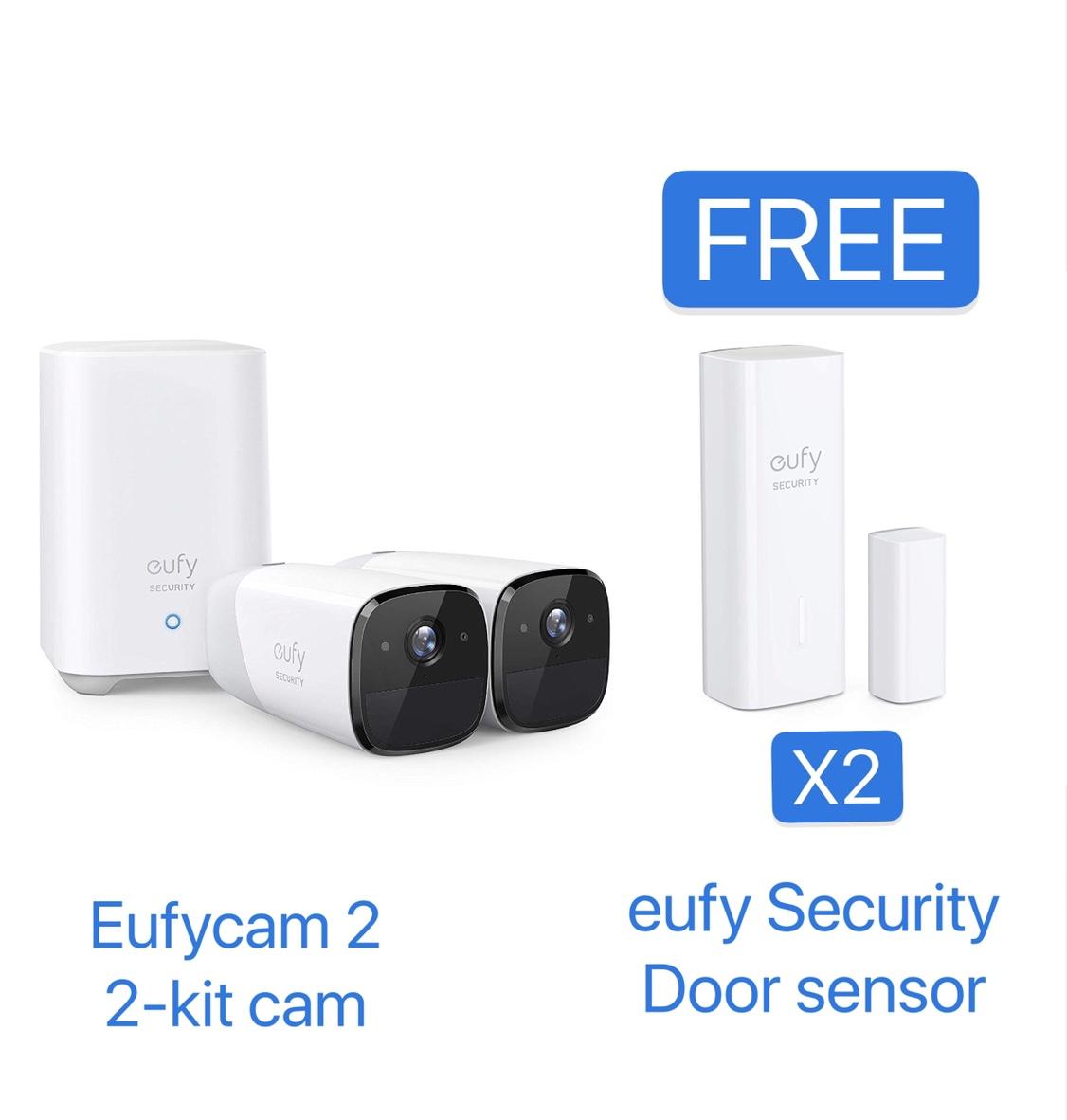 Eufy Security eufyCam 2 Wireless Home Security Camera System 2-Cam Kit + Free Entry Sensors $349.98 + FSSS