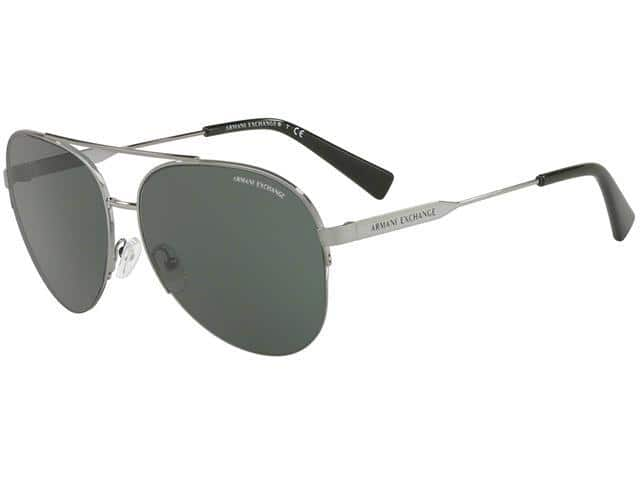 Armani Exchange Men's Semi-Rimless Gunmetal Aviator Sunglasses for $29.99 + FS