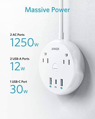 Anker USB C Power Strip with 30W Power Delivery, 2 Outlets and 42W 3 USB $24.99 & More + FSSS