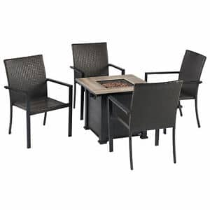 Leisure Classics Harbor Springs 50000 BTU 5 Piece Outdoor Tile Top Fire Pit Set $289.99 + Free Shipping
