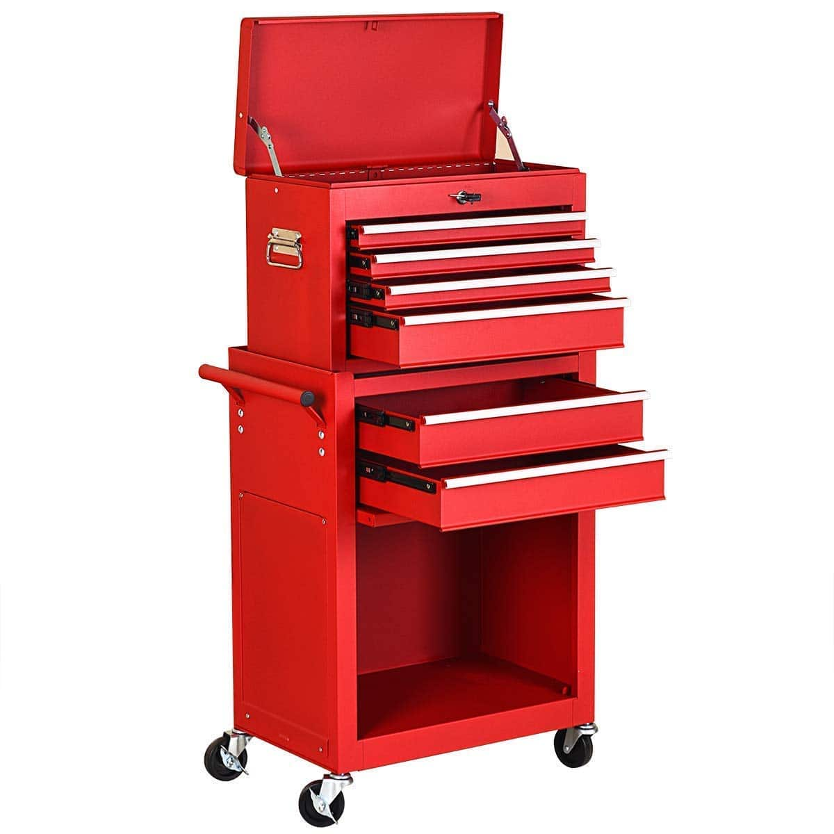 Goplus 6-Drawer Rolling Tool Chest Removable Tool Storage Cabinet with Sliding Drawers (Red) -- $169.99 + Free Shipping