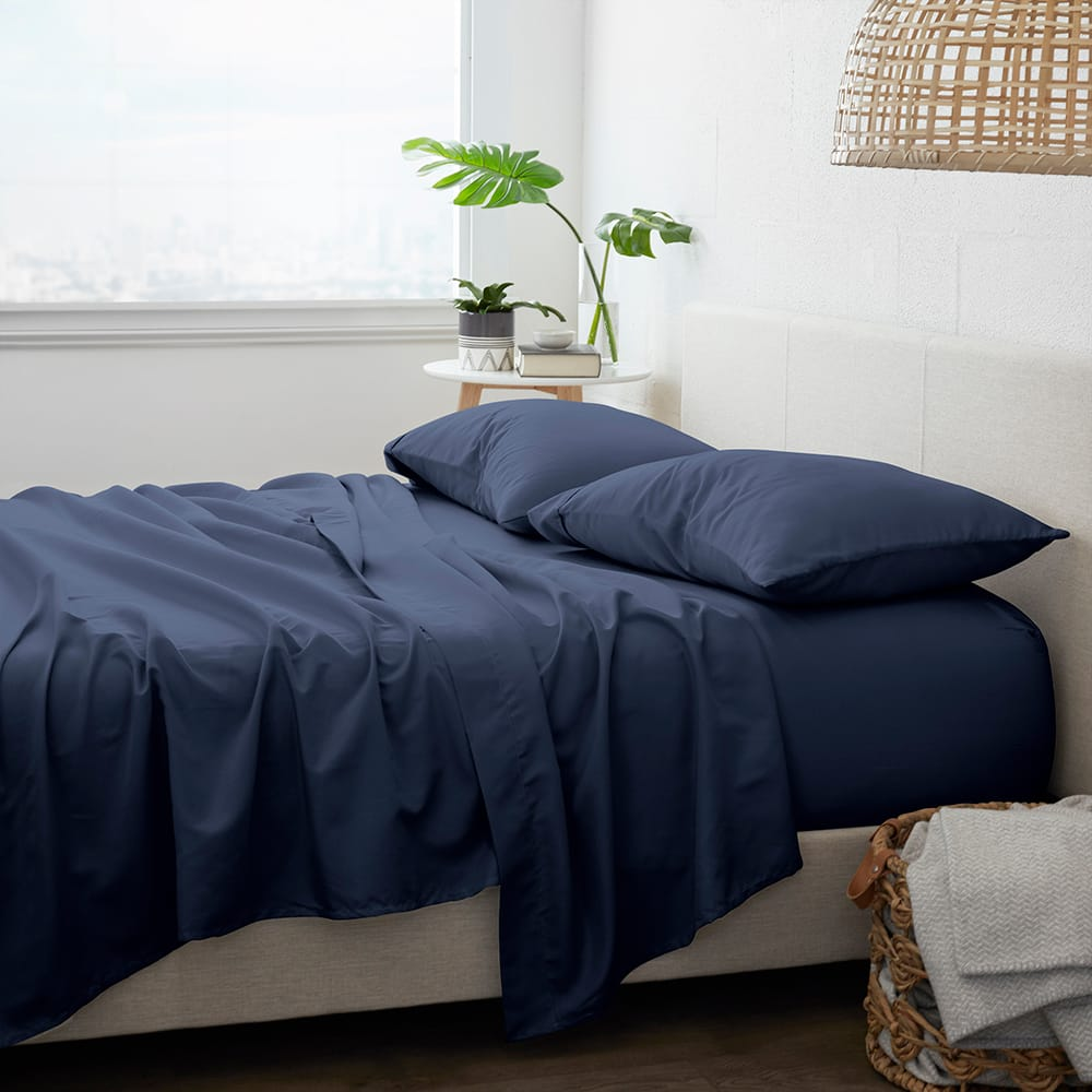 Linens & Hutch 4-Piece Solid Sheet Set From $18.48 + FS