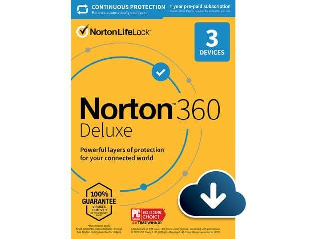 Norton 360 Deluxe - Antivirus software for 3 Devices with Auto Renewal (download) $15.99 AC