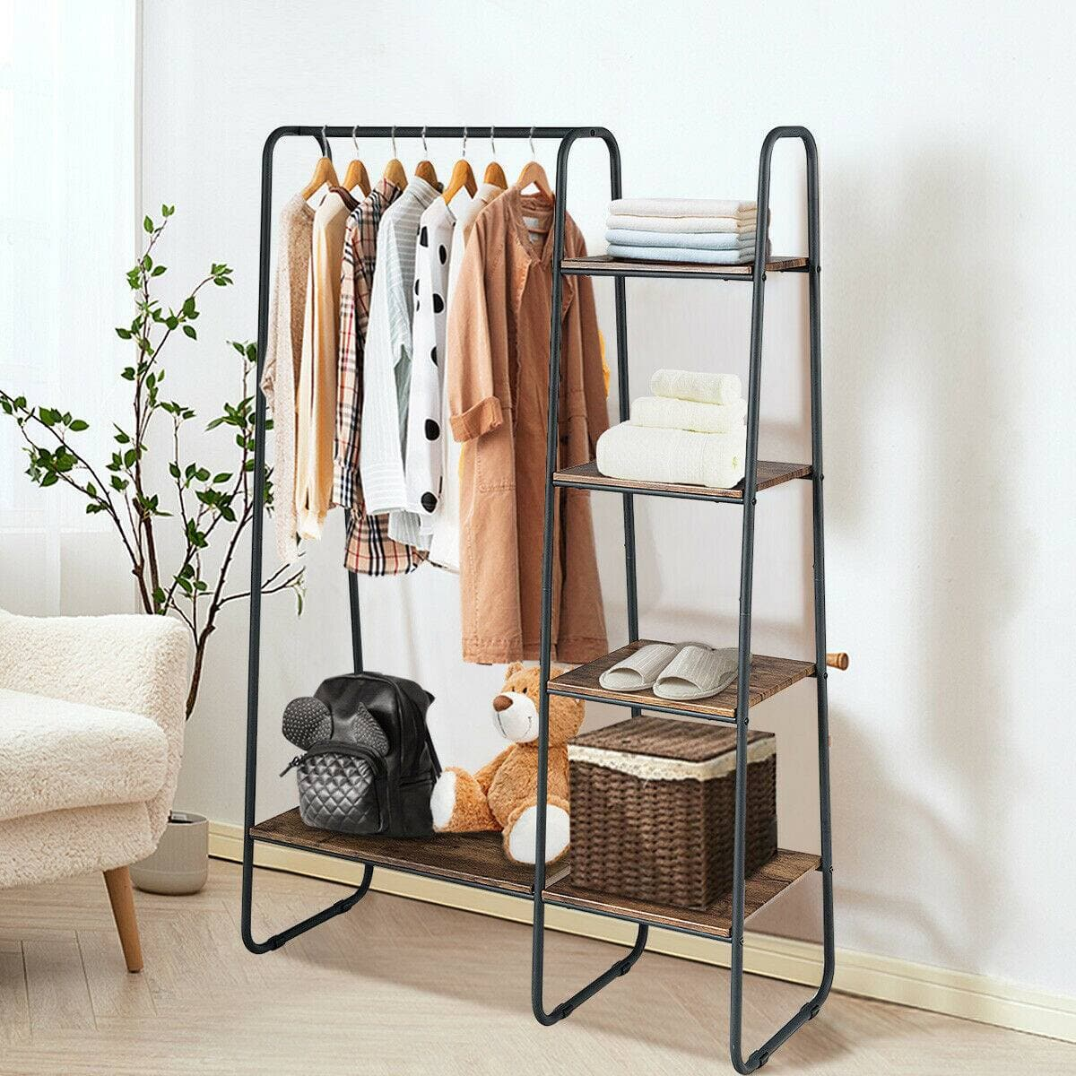 Costway Clothes Rack Free Standing Storage Tower with Metal Frame $73.95 + Free Shipping