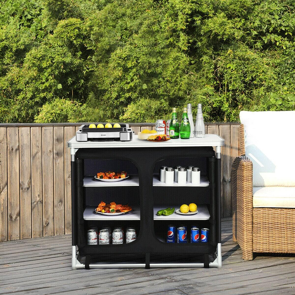 Costway Outdoor Camping Cooking Table with Storage Organizer $89.95 + Free Shipping