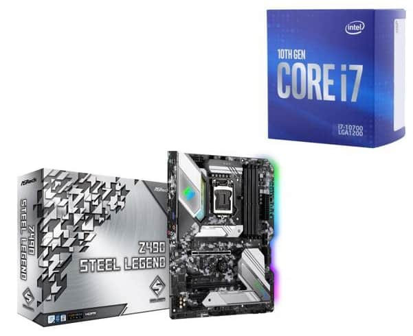 Intel i7-10700 8-Core Desktop Processor Bundle Deals + ASRock Z490 Steel Legend MB for $499.98 AR or Gigabyte Z490 AORUS MB for $544.98