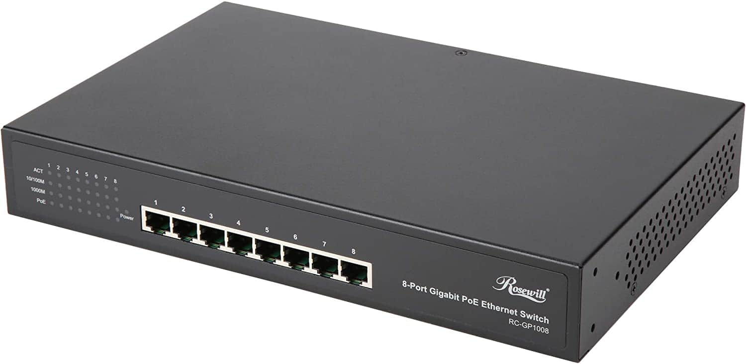 Rosewill - 8-Port PoE+ Network Switch, Unmanaged Gigabit 1000M Ethernet Switch $64.99 + FS