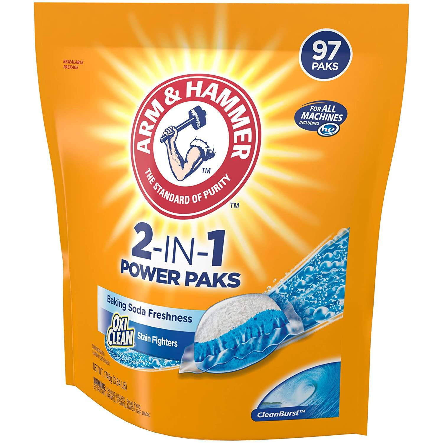 97-Count Arm & Hammer 4-in-1 Laundry Detergent Power Paks for $8.92 + FS