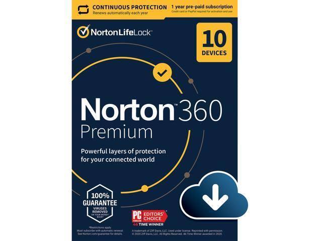 10-Devices Norton 360 Premium - Antivirus Software for $24.99 AC