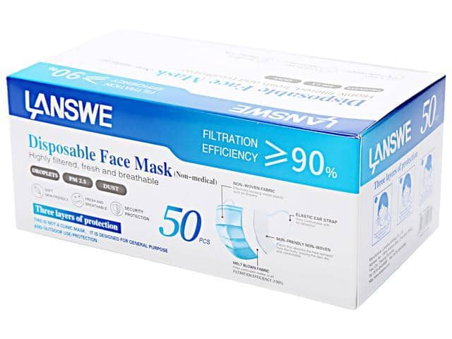 50-Pack LANSWE Disposable Face Mask for $14.99, 30-Piece Blue Arrow KN95 Protective Mask for $29.99 + FS