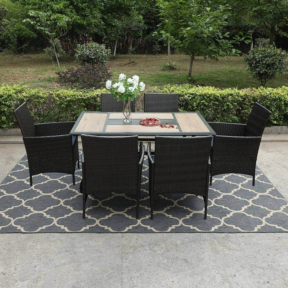 7-Piece Outdoor Patio Dining Set - 6 Rattan Chairs with Cushions Starts From $571.20 + FS
