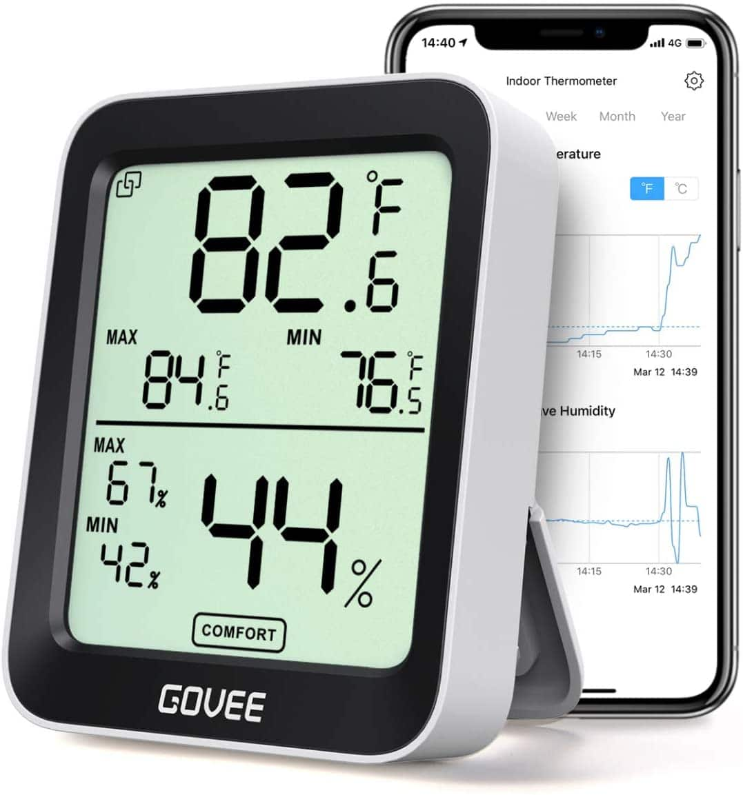 Govee Smart Hygrometer Thermometer  w/ LCD and Check on App $9.99 + FSSS