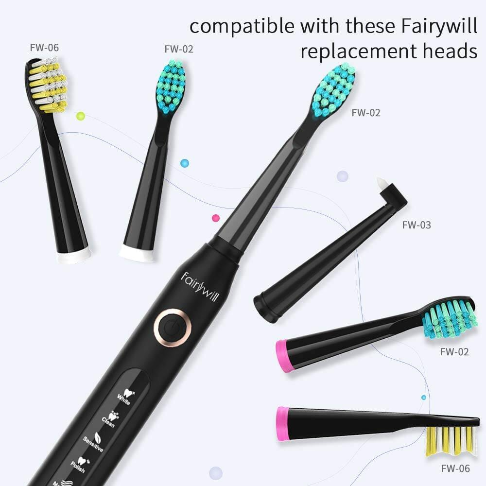 Fairywill Via Amazon has  Electric UltraSonic Toothbrush WIth 5 Optional odes & 3 Brush Head-$15.52 AC + FSSS