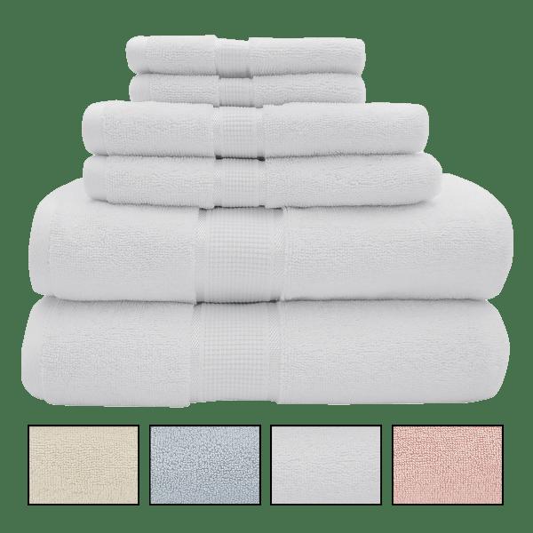 6-Piece Premium Combed Cotton 600 GSM Towel Sets $25