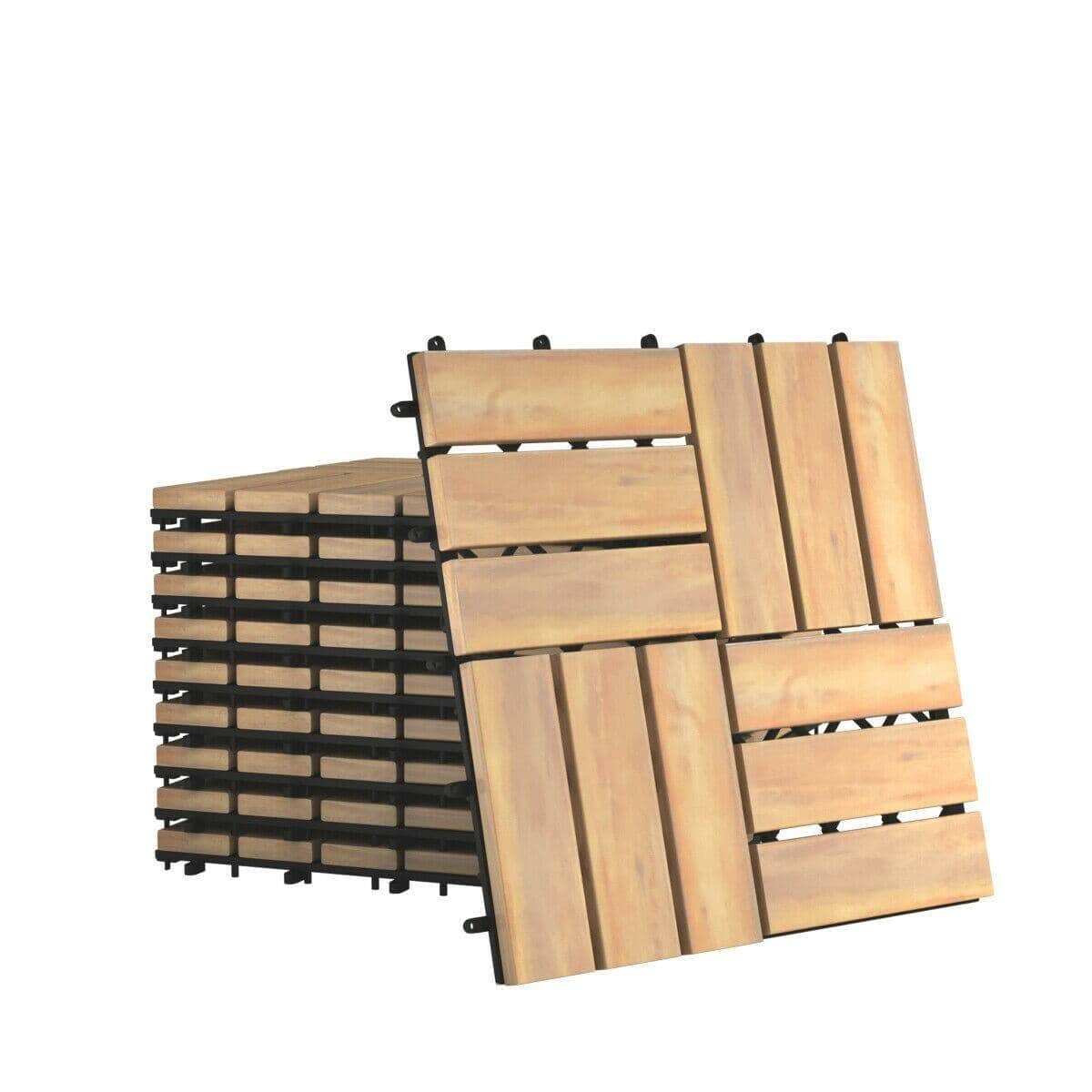 "10 PCS 12"" x 12"" Acacia Wood Interlocking Check Deck Tiles-$48.95 + Free Shipping"
