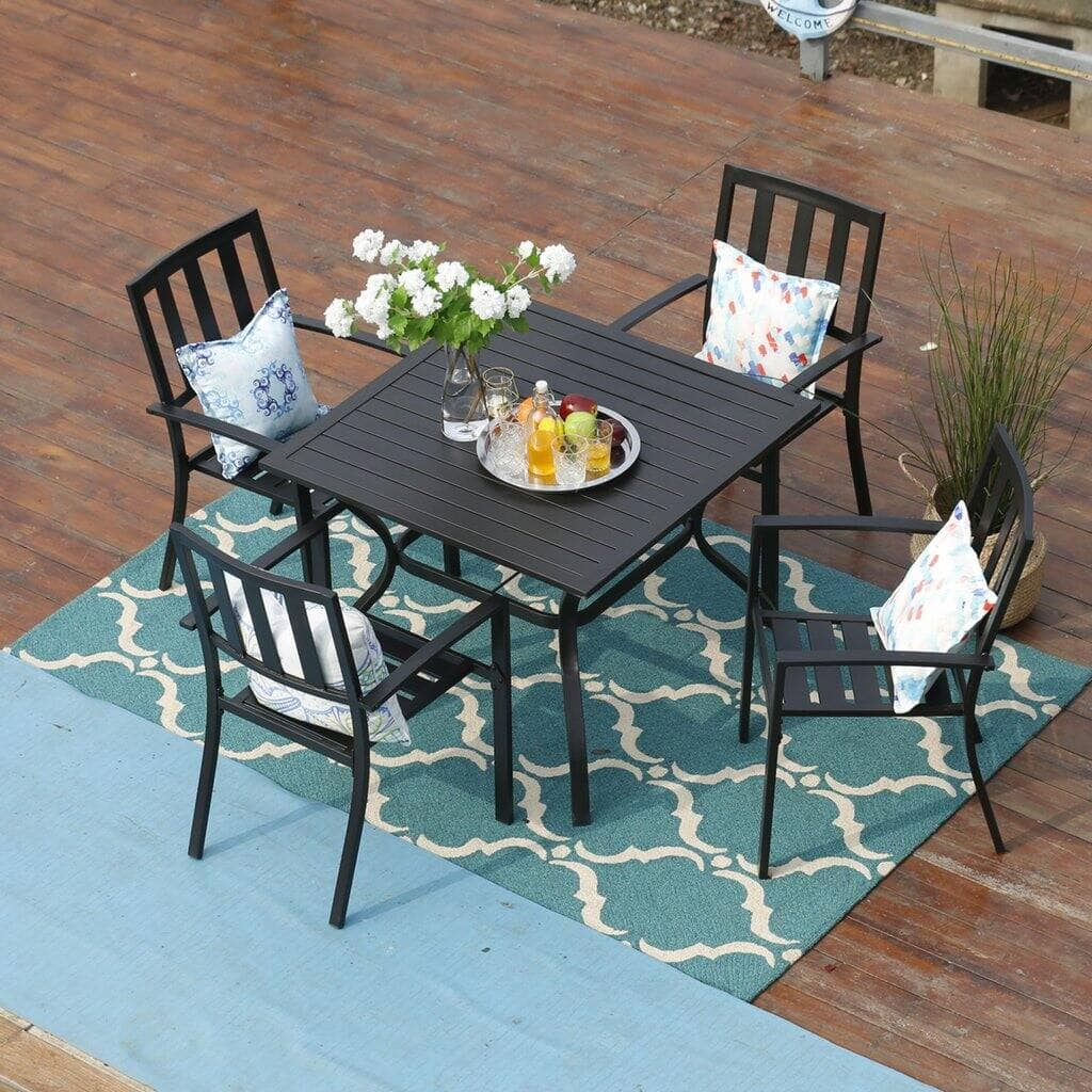 5 Piece Metal Outdoor Indoor Dining Chairs and Larger Square Table Set: Starts From $378 + FS