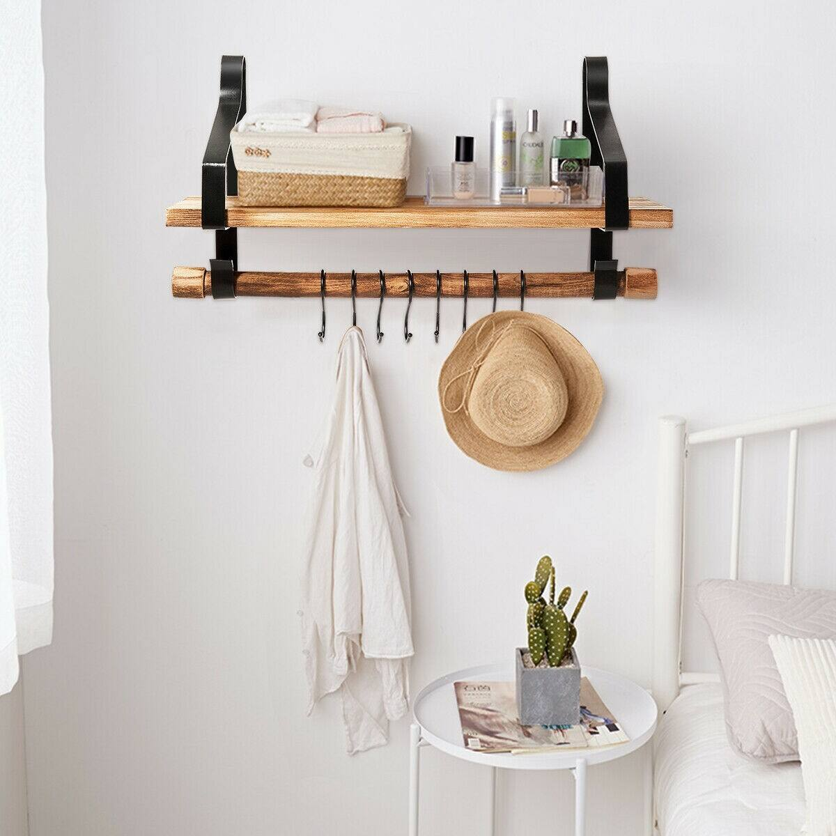 Costway Wooden Wall-Mounted Floating Storage Shelf with Removable Towel Bar-$21 + Free Shipping