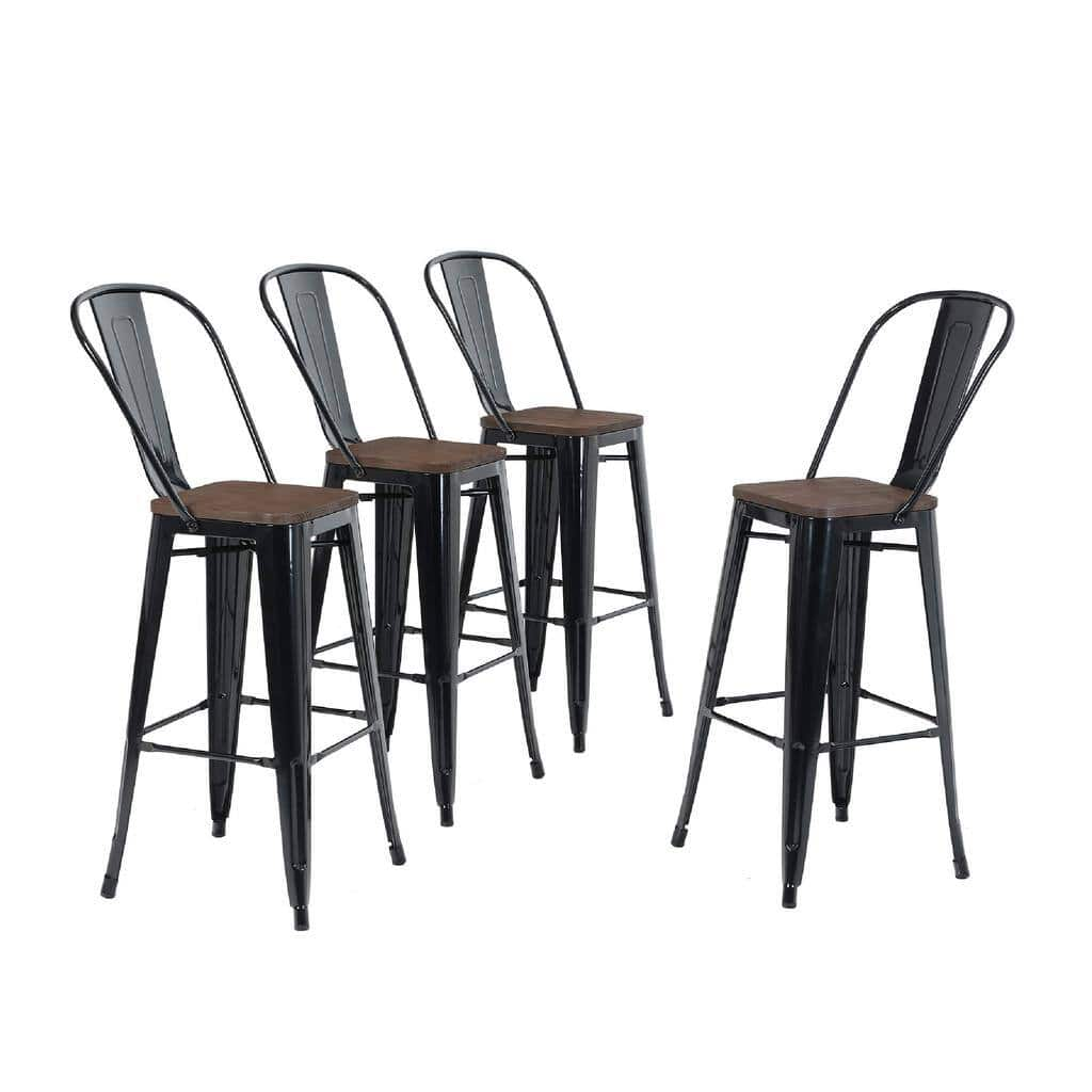 """Alpha Home 30"""" High Back Bar Stools with Wood Seat, Set of 4 for $208.99 + FS"""