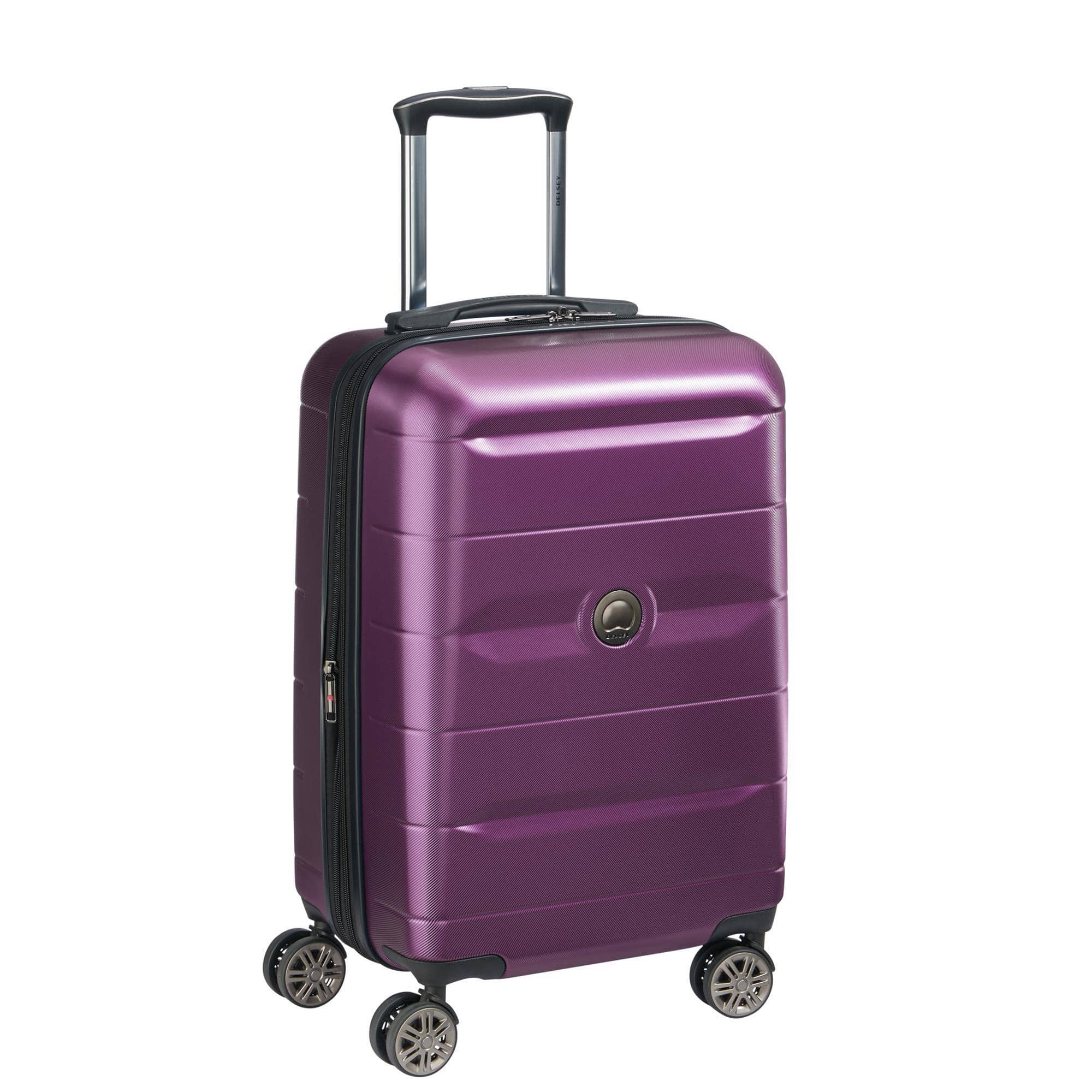 DELSEY Paris Comete 2.0 Expandable Rolling Carry On Luggage Suitcase, Purple $47.99 Shipped