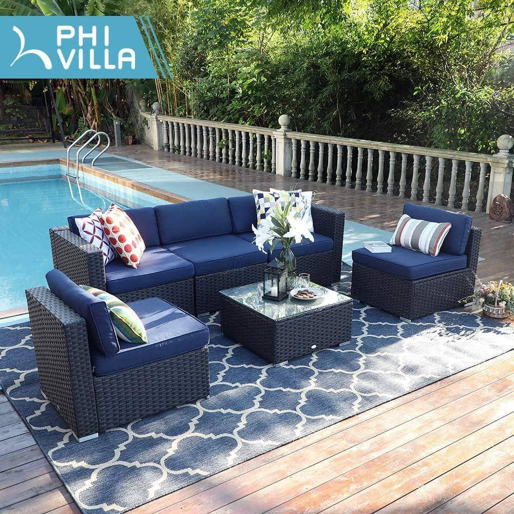 6-Piece PHI VILLA Outdoor Rattan Sectional Sofa Set $736.95 + FS