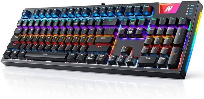 ABKONCORE Gaming Mechanical Keyboard w/ OUTEMU Blue Switches, RGB Side LED and Backlit for $32.39 + FSSS