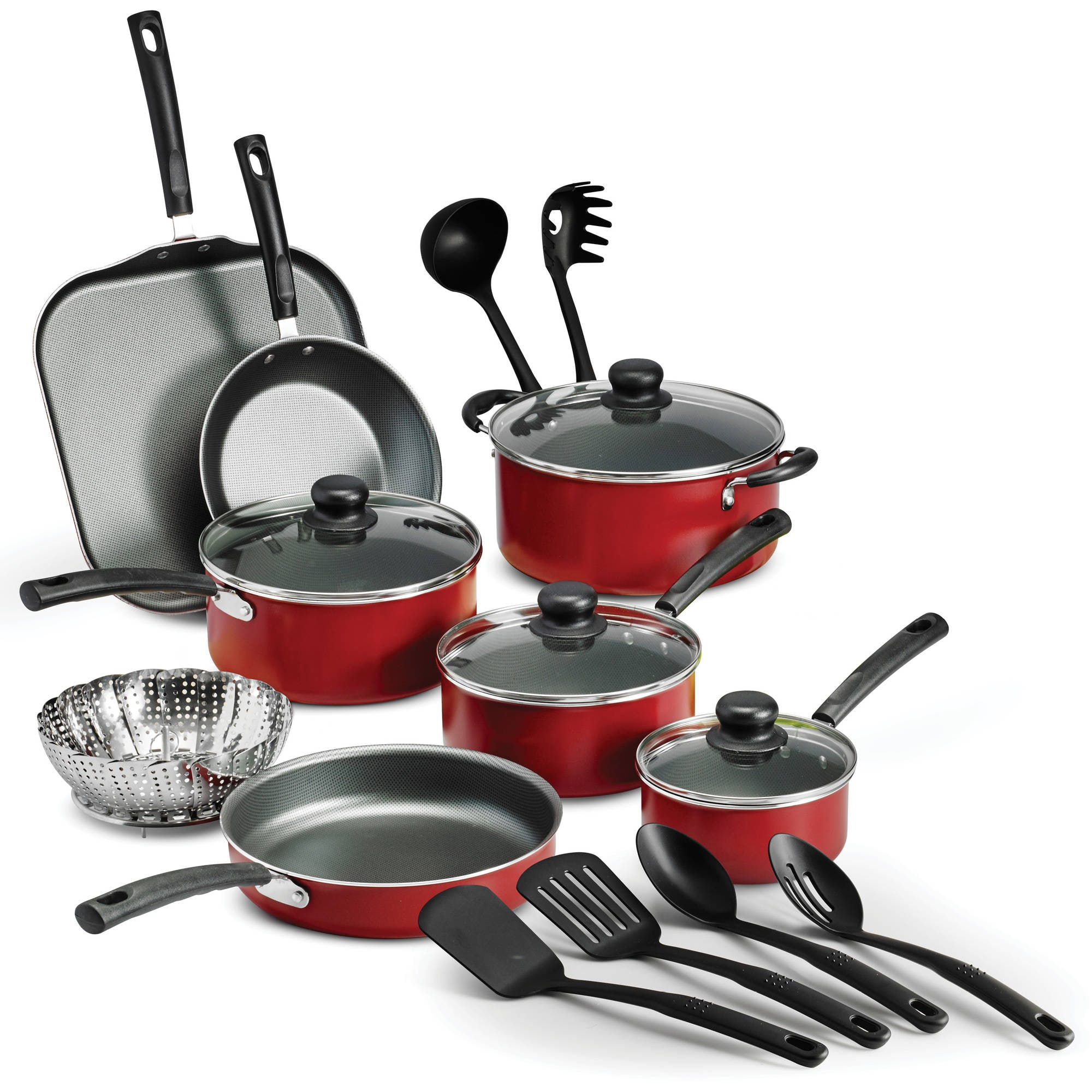 18-Piece Tramontina Primaware Non-stick Cookware Set Red $35.96