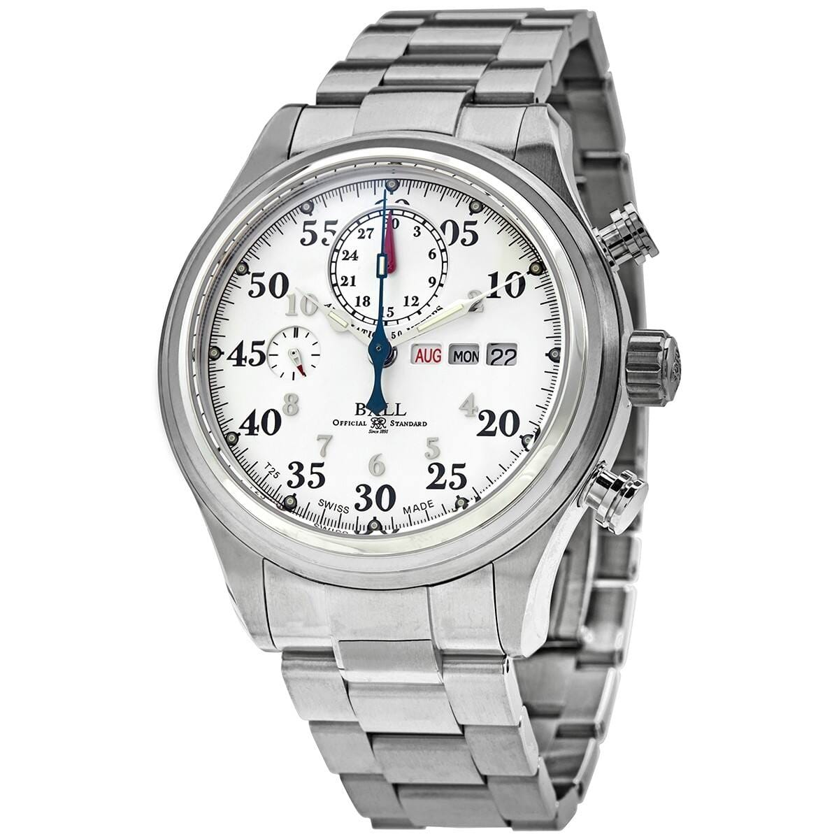 BALL Trainmaster Racer Automatic White Dial Steel Men's Watch $1195 + FS