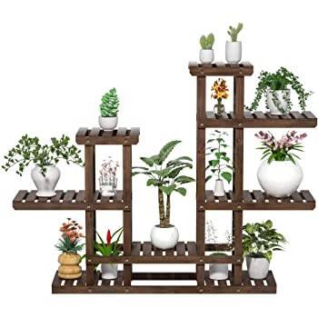 Yaheetech 6 Tier Rack Shelf-Planter Holder Flower Pots Shelving Unit Wood Brown 47.5 x 10 x 38 inch for $39.99 + FSSS