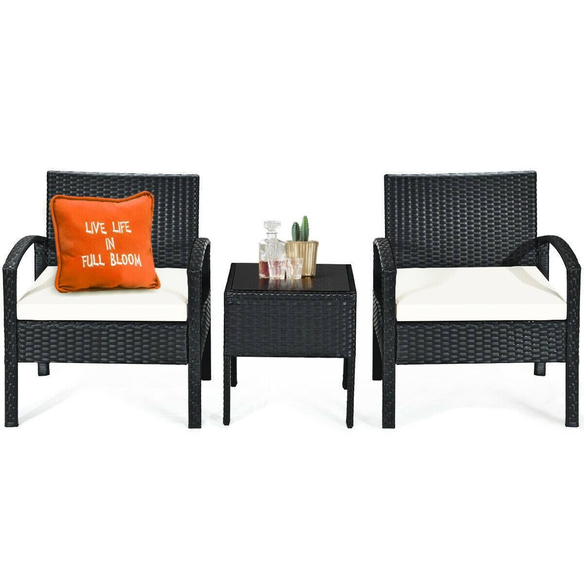 3-Piece Patio Rattan Furniture Set Sofa Cushioned Table Garden-$124.95 + Free Shipping