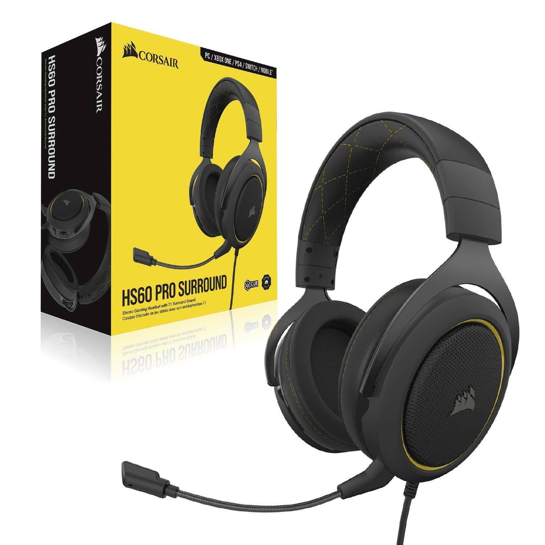 Corsair HS60 Pro 7.1 Virtual Surround Sound PC Gaming Headset (Yellow) - $49.99