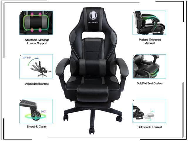 KILLABEE Massage Gaming Chair High Back PU Leather with Retractable Footrest and Adjustable Lumbar Support + $10 Gift Card - $149.99 + FS