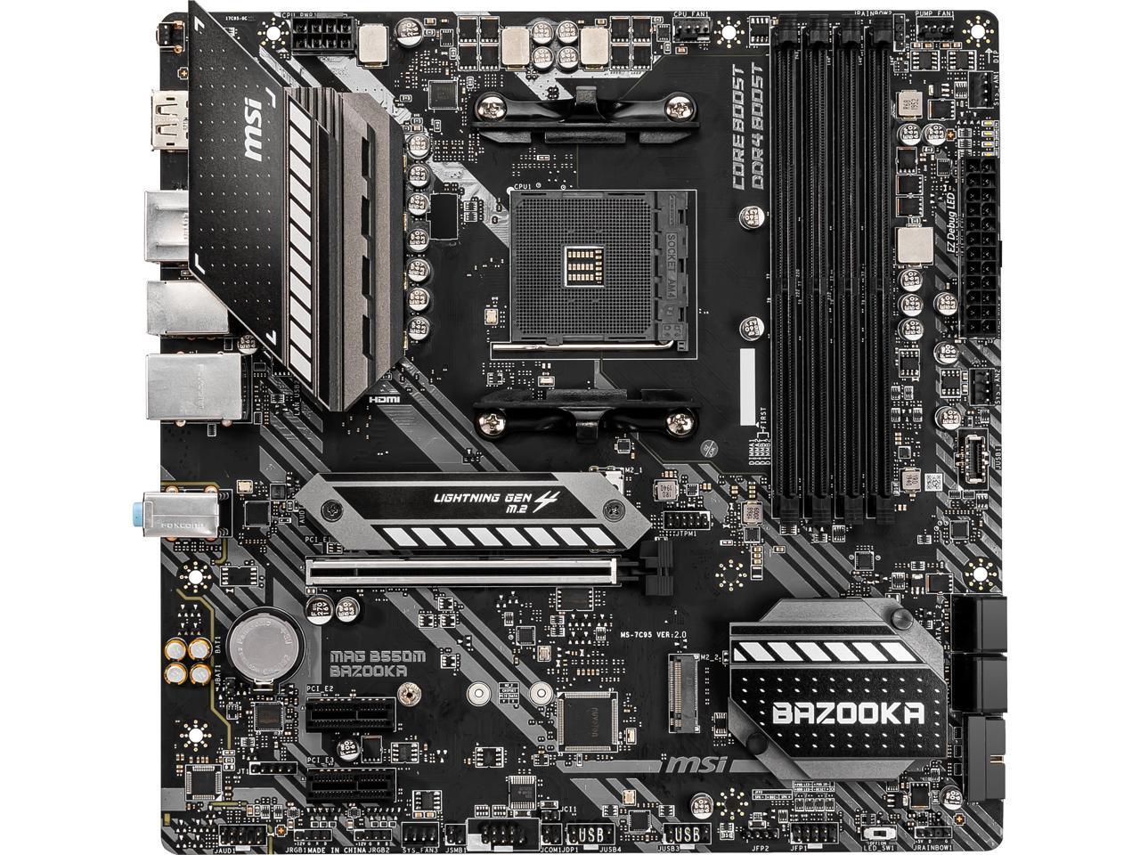 MSI MAG B550M BAZOOKA AM4 B550 SATA 6Gb/s Micro ATX AMD Motherboard - $114.99 AC + FS