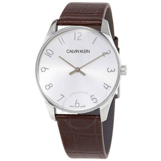 CALVIN KLEIN Classic Quartz Silver Dial brown Leather Men's or Ladies Watch - $39.99 Shipped