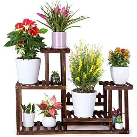 Yaheetech Wooden Plant Stand Multiple Tiered Flower Rack Brown 37.4 x 9.8 x 28.7 inch $34.79 + Free Shipping