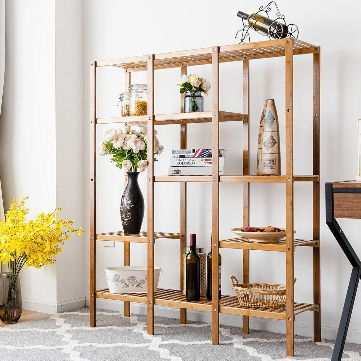 Costway Multifunctional Bamboo Shelf Storage Organizer Rack + $83.95 + FS
