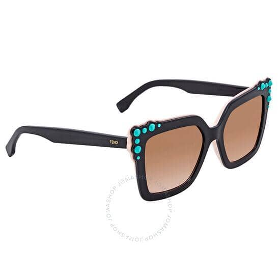 FENDIBrown Gradient Square Sunglasses with Turquoise Studs FF 0260/S 3H2/53 52 for $74.99 Shipped